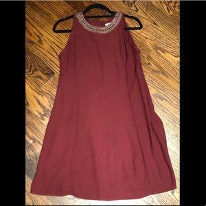 Old Navy Burgundy shift dress w/ Gold accent neck